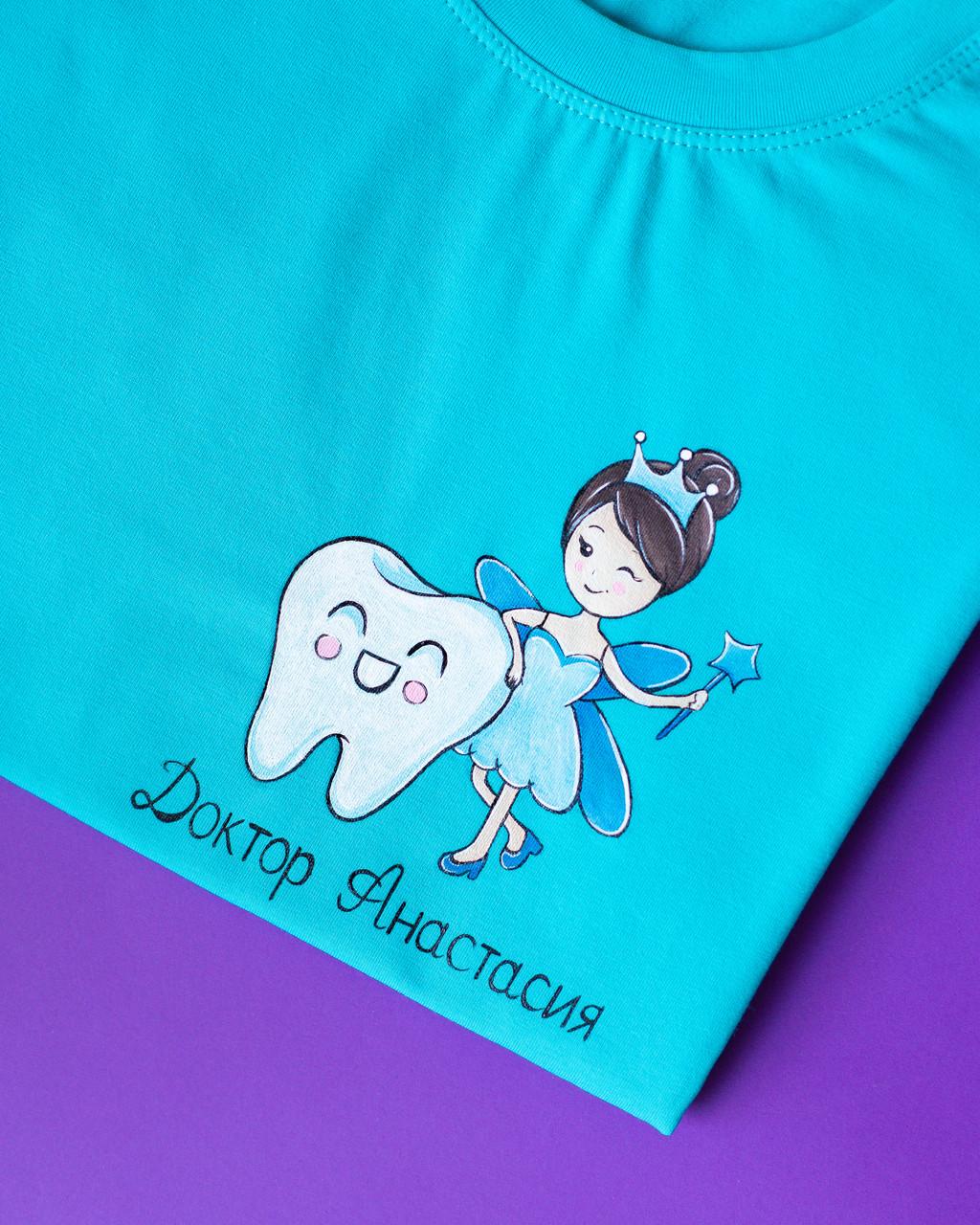 Женская медицинская футболка с индивидуальным рисунком ручной работы