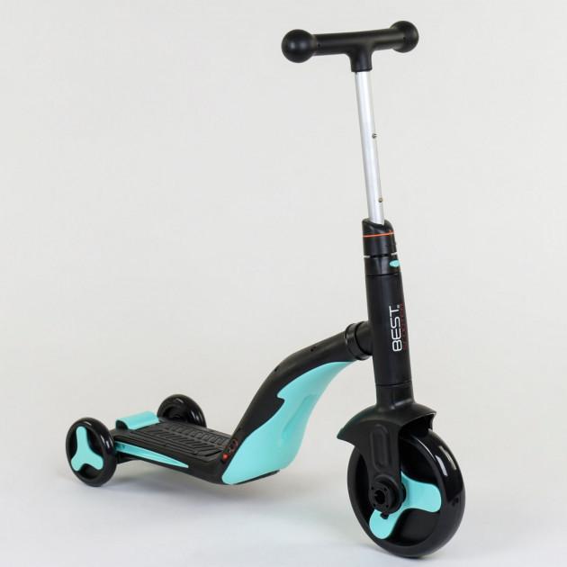 Самокат Best scooter голубой S868 3 в 1 с подсветкой и музыкой
