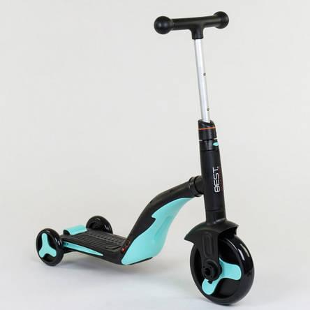 Самокат Best scooter голубой S868 3 в 1 с подсветкой и музыкой, фото 2