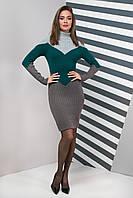 Вязаное платье Элиза (42-50) изумруд, фото 1