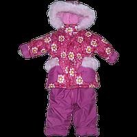 Детский р 92 1,5-2 года съемная овчина зимний термо комбинезон куртка полукомбинезон штаны + флис девочке 1330