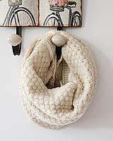 Стильный теплый вязанный женский шарф-хомут снуд с двойным типом вьязки бежевого цвета