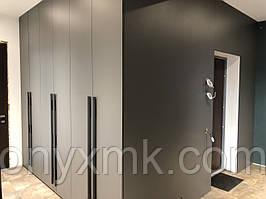 Распашной шкаф в корридор переходящий в стеновые панели