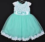 """Платье нарядное детское """"Софи"""". 3-4 года. Мятное с белым кружевом. Оптом и в розницу"""