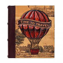 """Фотоальбом кожаный с магнитными листами """"Время путешествовать"""""""