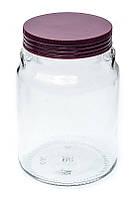 Банка стеклянная Everglass 900 мл.для хранения с пластиковой крышкой цвет баклажан ( Италия )