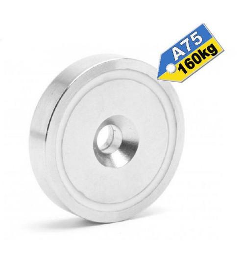 САМЫЙ МОЩНЫЙ Магнит в корпусе с зенковкой под саморез (потай) A75, 160кг ✰ПОЛЬША•N42•ГАРАНТИЯ 30лет✰