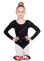 Детский гимнастический купальник, черный GM030129 (хлопок, р-р 0-M, рост 98-146 см)
