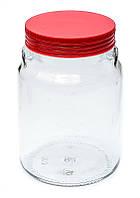 Банка стеклянная Everglass 900 мл. для хранения с красной пластиковой крышкой ( Италия )