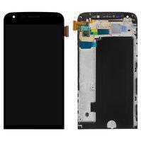 Дисплей (экран) для LG LS992 G5 с сенсором (тачскрином) и рамкой черный Оригинал