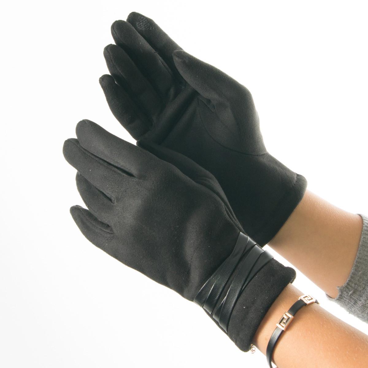Женские перчатки из искусственной замши со вставками из кожзама № 19-1-51-2 M(7)