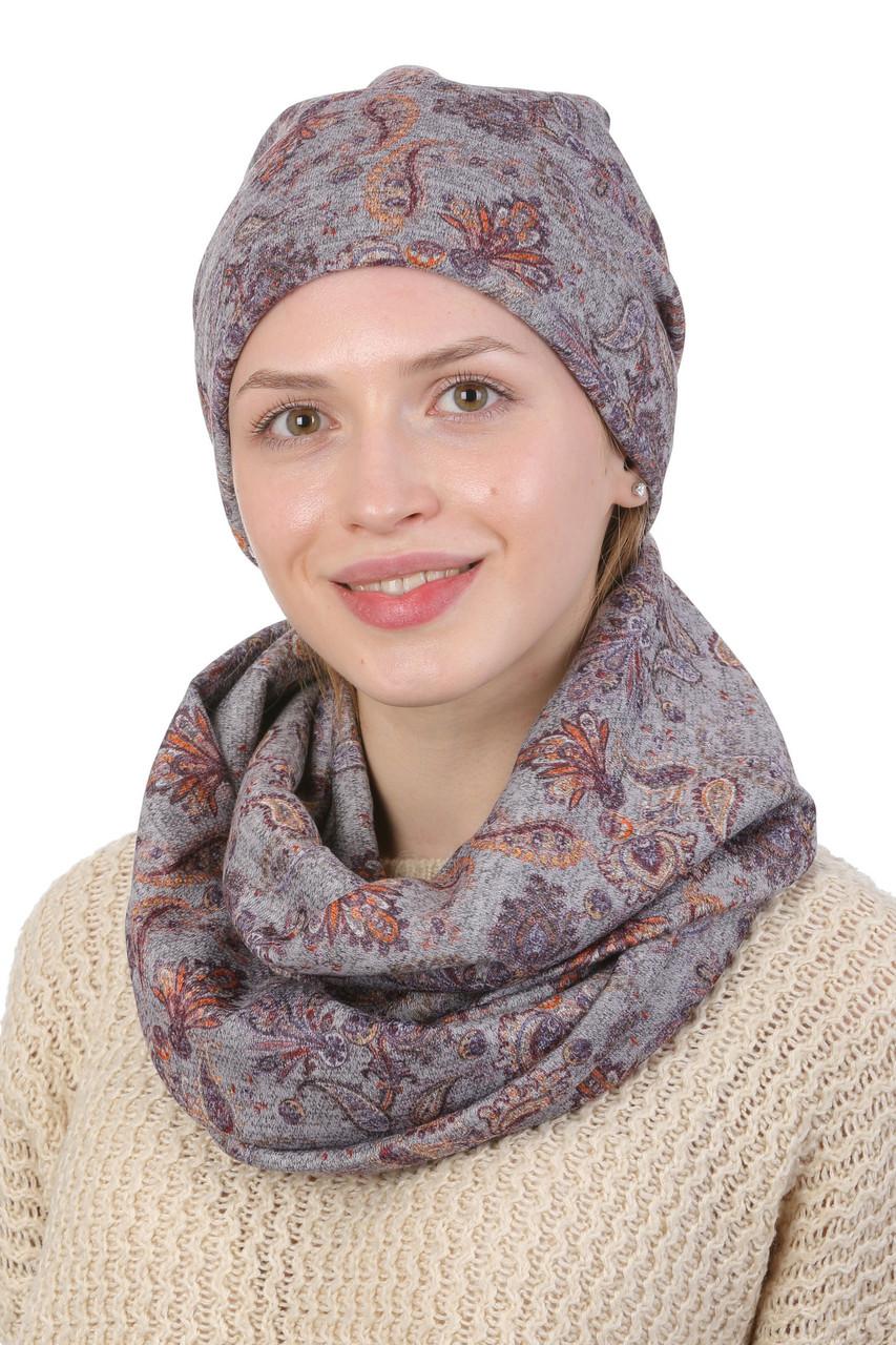 Комплект шапка и хомут серый с сиреневым