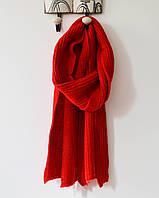 Модный теплый вязанный шарф красного цвета