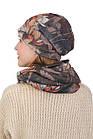 Комплект шапка и хомут коричневый с цветами, фото 2