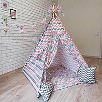 """Вигвам, детская палатка KatyPuf """"Розовые Единороги"""" Без коврика!!"""