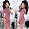 Платье женское из ангоры в рубчик ЕФ/-462 - Розовый