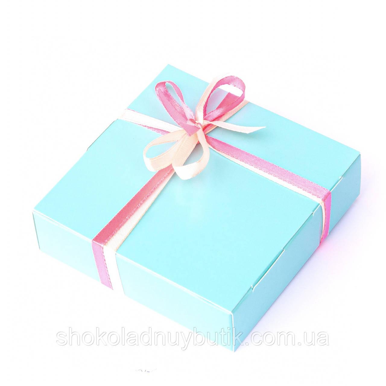 Подарок корпоративный Шоколадные конфеты ручной роботы *Бирюзовая коробка на 4шт.*