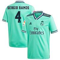 Детская футбольная форма Реал Мадрид SERGIO RAMOS 4 сезон 2019-2020 резервная бирюзовая