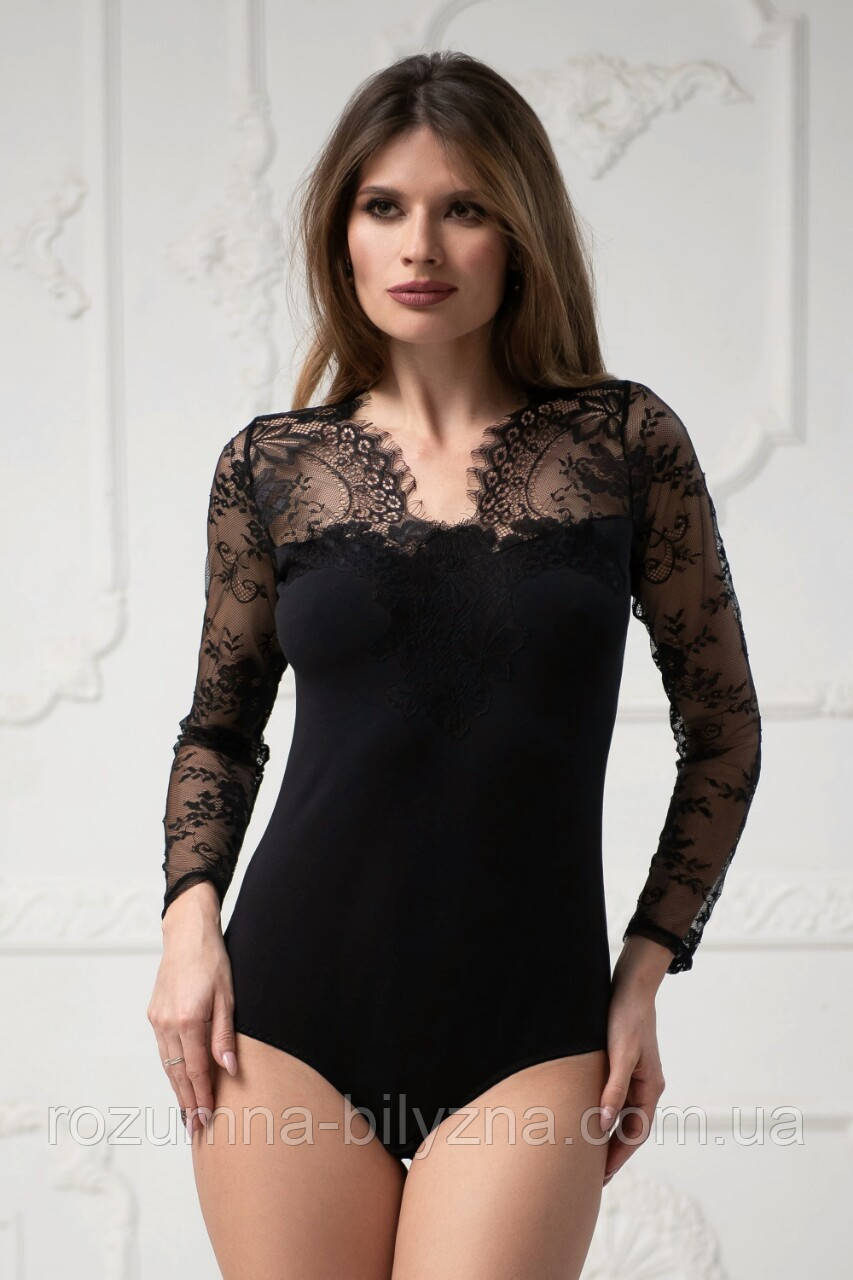 Боді Angelina чорного кольору. ТМ Komilfo. S. XL