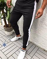 """Мужские спортивные штаны """"Лампас"""" трехнить на флисе (зима) черные с белой полосой - размер L, фото 1"""