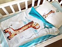 """Плед конверт с плюшем  в коляску или кроватку """"Жираф"""""""