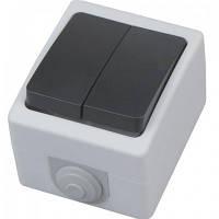 Вимикач накладної 2-клавішний АТОМ