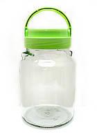 Банка стеклянная Everglass 900 мл.для хранения с зеленой  пластиковой крышкой и ручкой