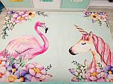 """Бесплатная доставка! Коврик для детской  """"Единорог и фламинго"""" 1,6 на 2.3 м, фото 4"""