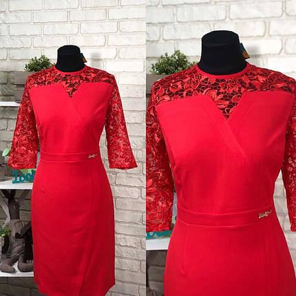 Эффектное женское платье ткань *Костюмная* с вставкой органзы размер 56 батал, фото 2