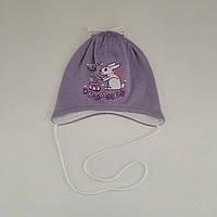 "Шапка на завязках для девочки ""Лия"", (вязка, трикотаж), р. 38-40 см"