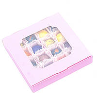 Подарок корпоративный Шоколадные конфеты ручной роботы *Розовая коробка с окошком на 16шт.*