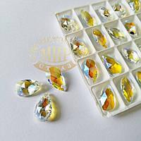 Стеклянная подвеска Капля, 9х16 мм, Crystal Shimmer, 1шт