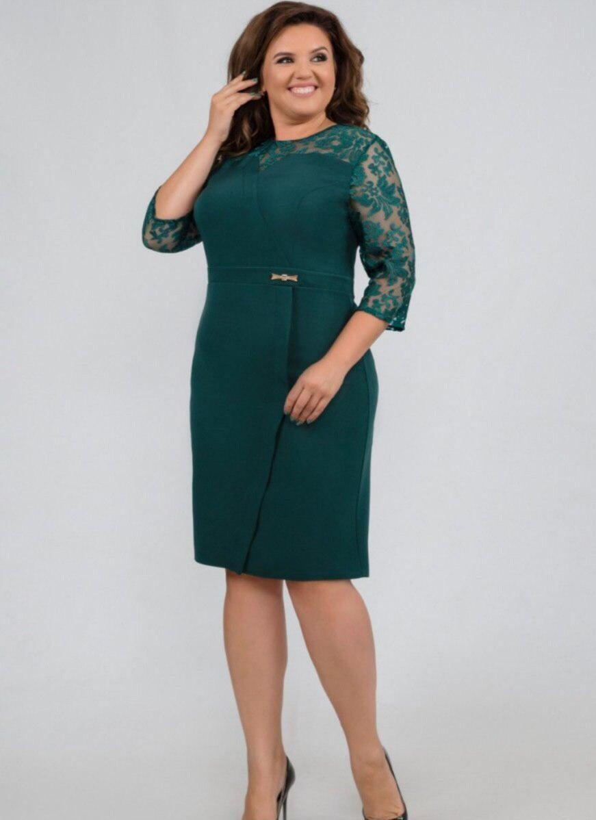Стильное женское платье ткань *Костюмная* с вставкой органзы размер 54, 56 батал