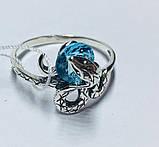 Серебряное кольцо с голубым цирконом Змейка, фото 2