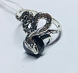 Колечко в сріблі з чорним цирконом Змійка, фото 2
