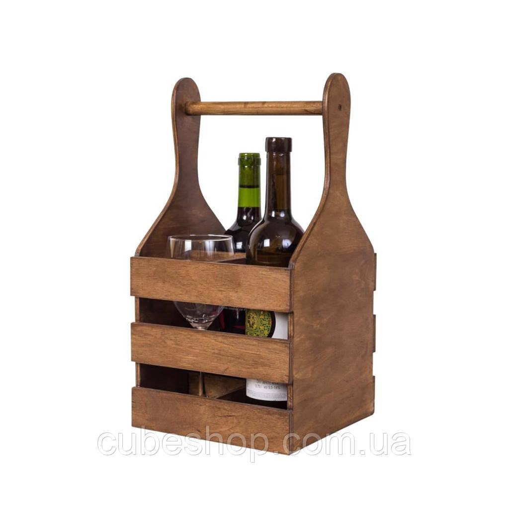 """Деревяннаякорзина для вина """"Пуговка"""" коричневый"""