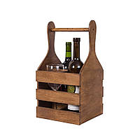 "Деревяннаякорзина для вина ""Пуговка"" коричневый, фото 1"