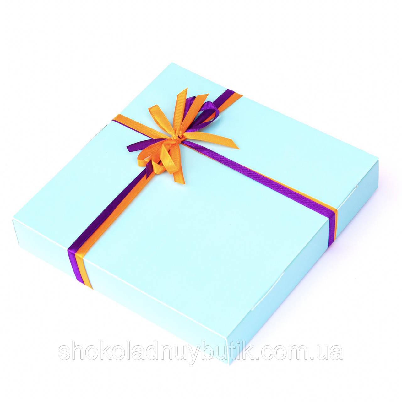 Подарок корпоративный Шоколадные конфеты ручной роботы *Бирюзовая коробк на 16шт.*