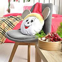 Подушка валик Мышка Санта