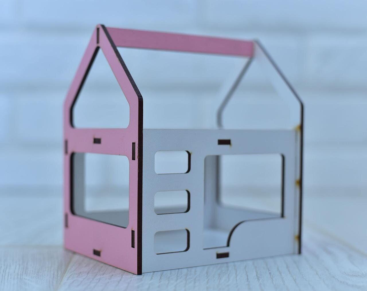 Игрушечная двухъярусная кровать домик NestWood для кукол Белый с розовым (rkml009r)