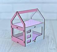 Игрушечная двухъярусная кровать домик NestWood для кукол Белый с розовым (rkml009r), фото 2