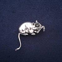 Брошь Год Крысы символ года 35х33мм белый металл
