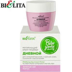 Bielita - Pure Green Крем-праймер матирующий дневной для жирной, комбинир. кожи 50ml