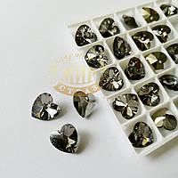 Стеклянная подвеска Сердце, 12 мм, Black Diamond, 1шт