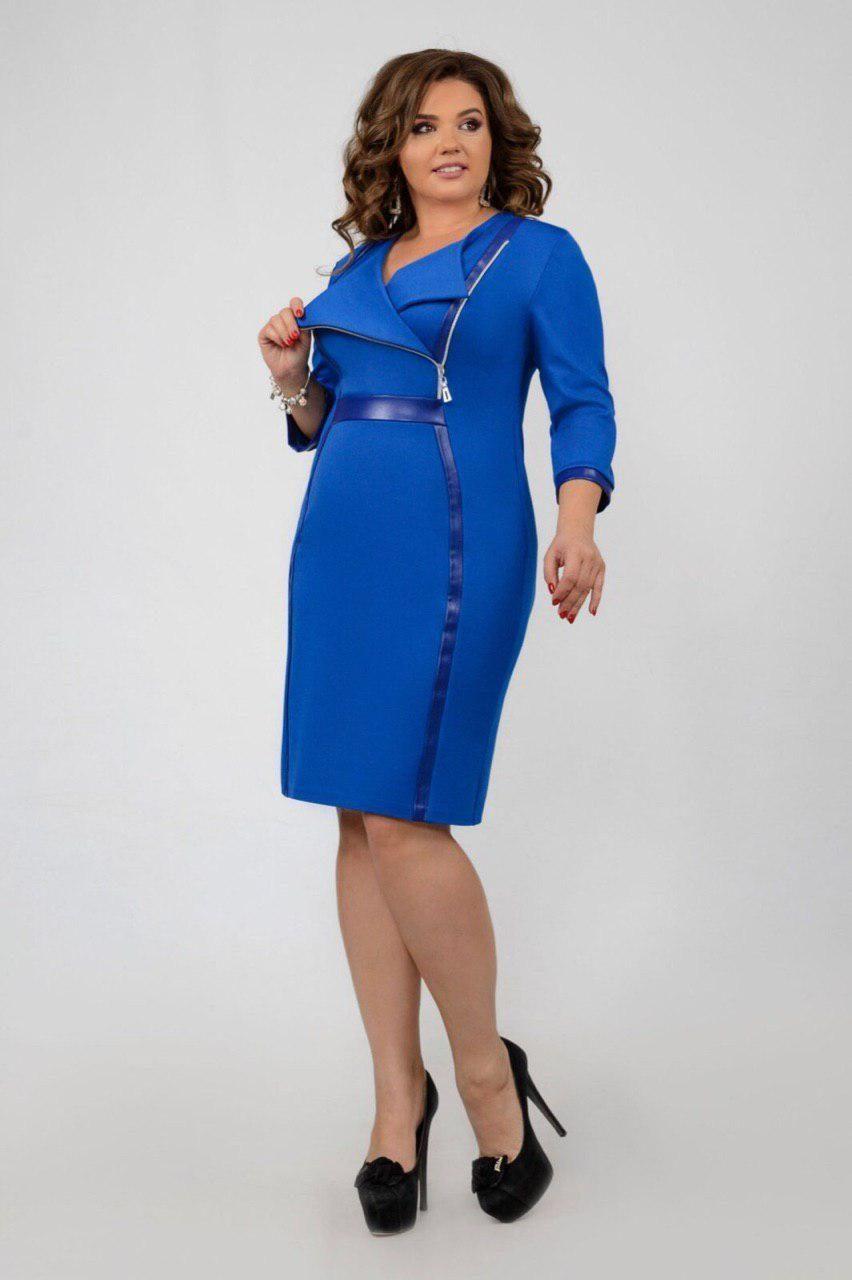 """Шикарное женское платье со вставками из Эко-кожи  """"Французский трикотаж"""" 56 размер батал"""