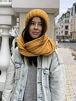 Снуд хомут женский зимний вязаный шерстяной теплый желтый, фото 1