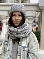 Снуд хомут женский зимний вязаный шерстяной теплый серый, фото 1