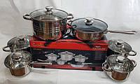 Набор посуды UNIQUE UN-5033 из нержавеющей стали 12 предметов, фото 1