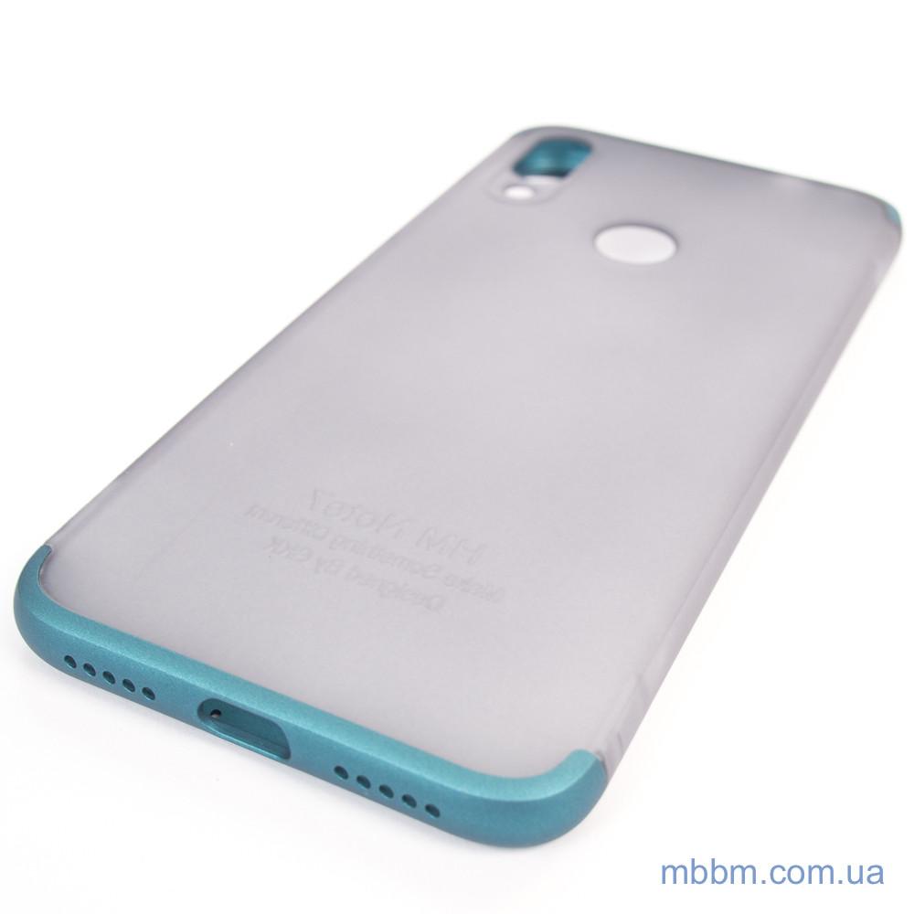 Чехлы для Xiaomi Redmi Note 7 GKK LikGus 360* матовая Turquoise Transparent Прозрачный