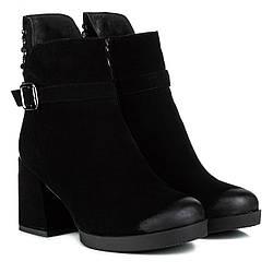 Ботильоны женские MY CLASSIC (черные, стильные, на широком каблуке)